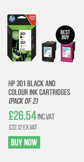 HP 301 Black and Colour Ink Cartridges (Pack of 2)