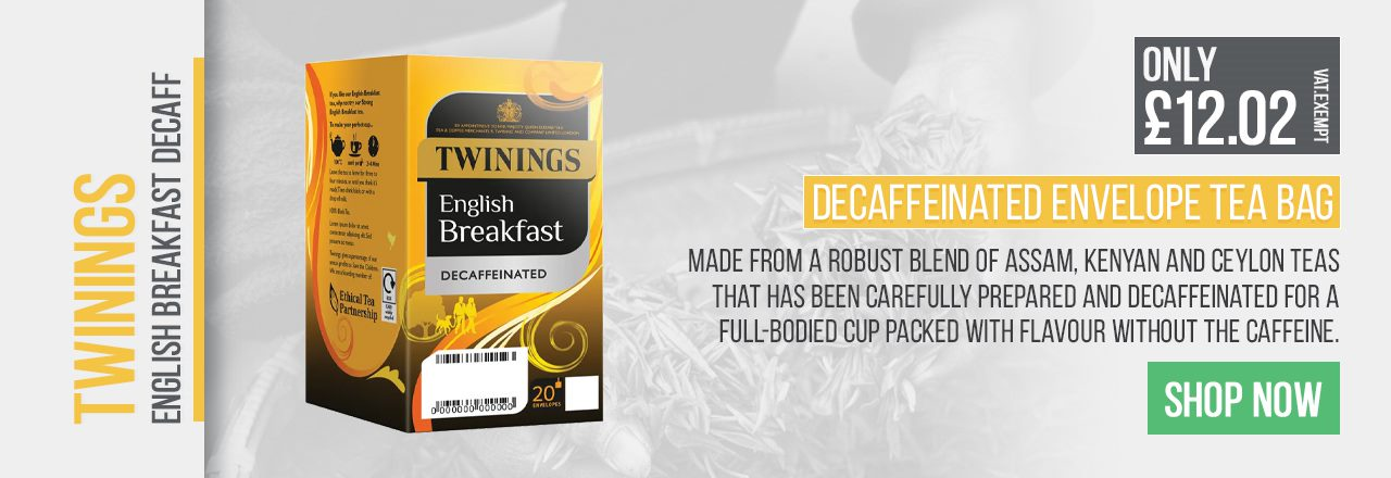 Made from a robust blend of Assam, Kenyan and Ceylon teas that has been carefully prepared and decaffeinated for a full bodied cup packed with flavour without the caffeine.