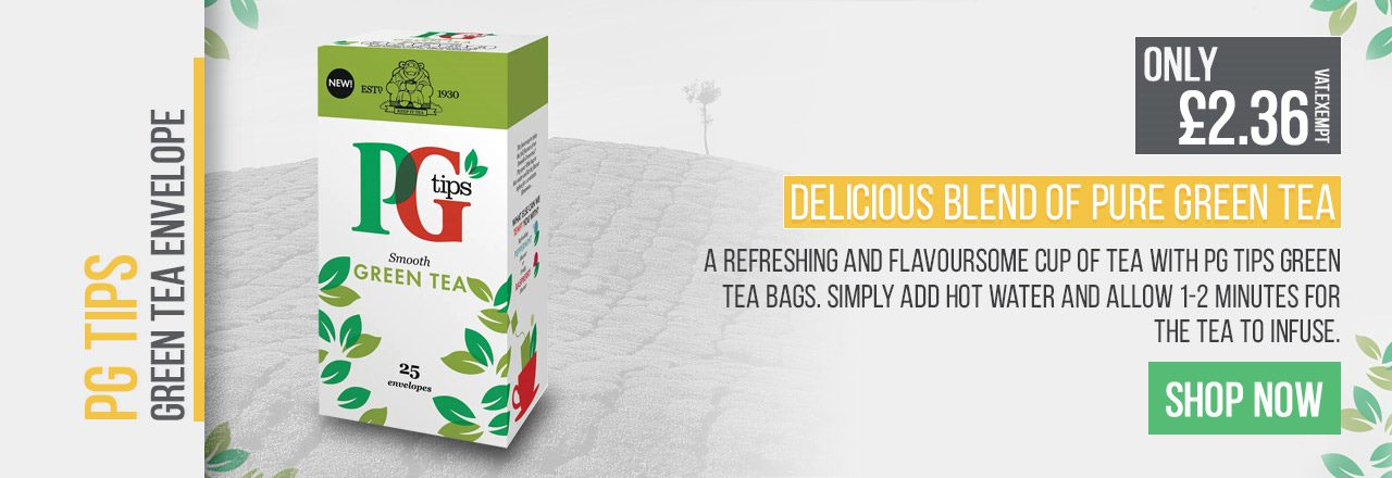 A refreshing and flavoursome cup of tea with PG Tips green tea bags.
