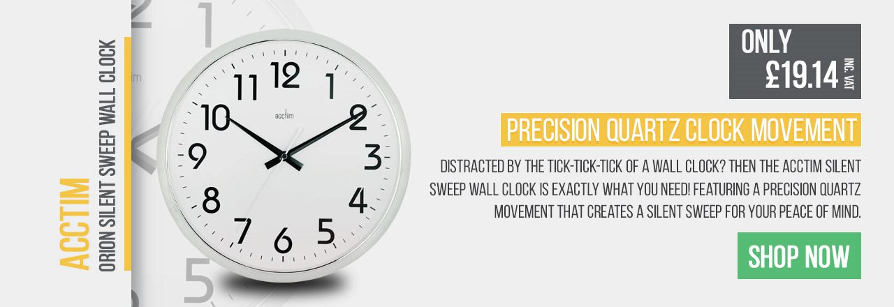 Distracted by the tick-tick-tick of a wall clock? Then the Acctim Silent Sweep Wall Clock is exactly what you need! Featuring a precision quartz movement that creates a silent sweep for your peace of mind.