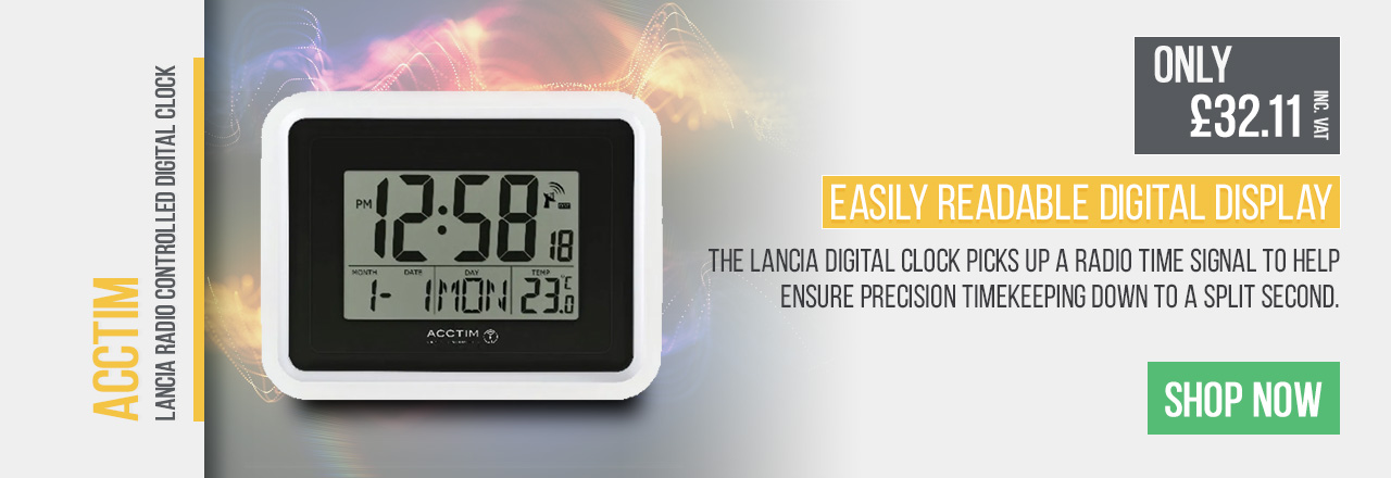The Lancia Digital Clock picks up a radio time signal to help ensure precision timekeeping down to a split second. The versatile LCD screen automatically shows the current time, date, lunar phase and indoor temperature.