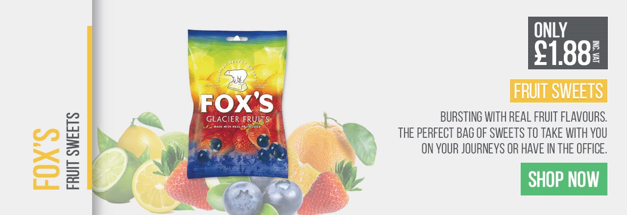 Bursting with real fruit flavours. The perfect bag of sweets to take with you on your journeys or have in the office.