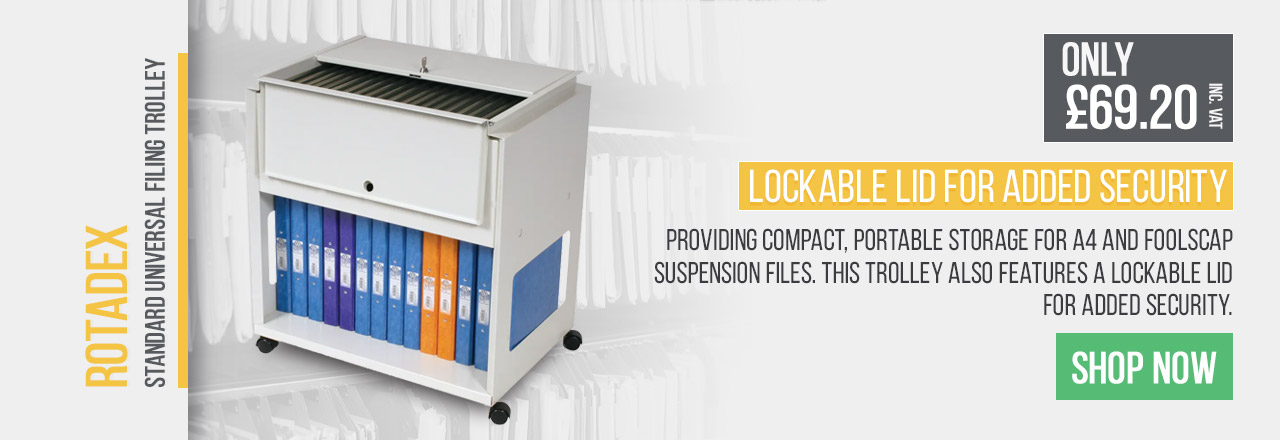 Providing compact, portable storage for A4 and foolscap suspension files. This trolley also features a lockable lid for added security.
