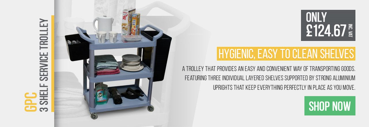 A trolley that provides an easy and convenient way of transporting goods. Featuring three individual layred shelves supported by strong aluminimum uprights that keep everything perfectly in place as you move.