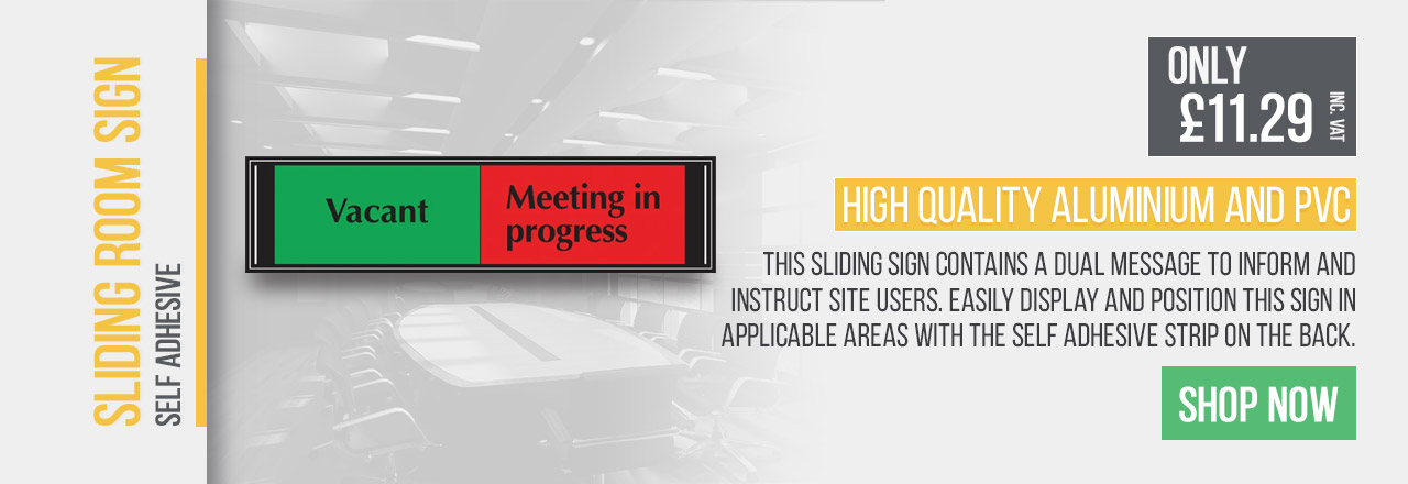 This sliding sign contains a dual message to inform and instruct site users.