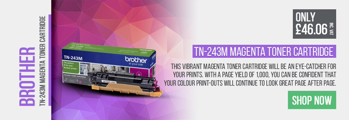 The vibrant magenta toner cartridge will be an eye-catcher for your prints.